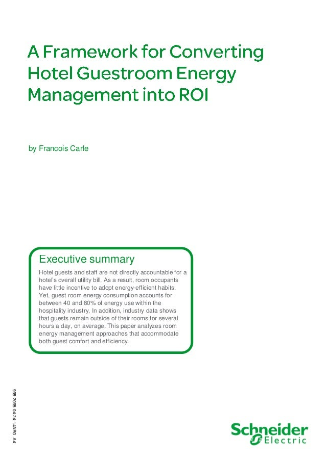 A framework for converting hotel guestroom energy management into ROI