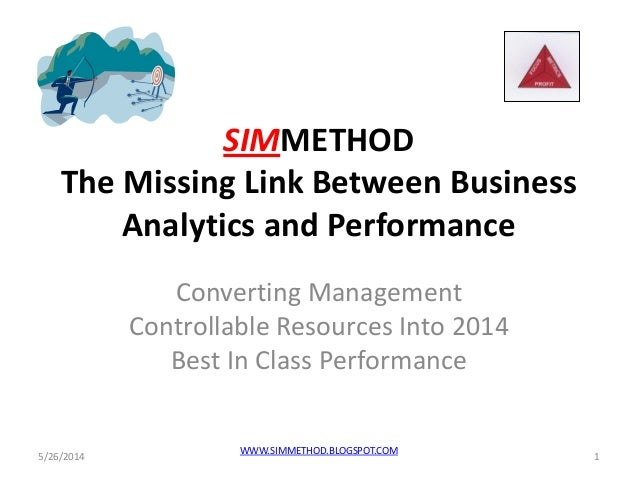 SIMMETHOD The Missing Link Between Business Analytics and Performance Converting Management Controllable Resources Into 20...