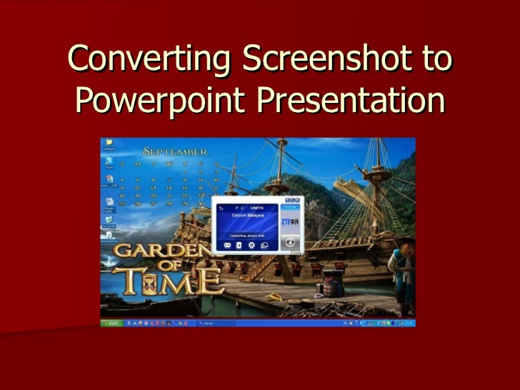 Converting Screenshot to Powerpoint Presentation