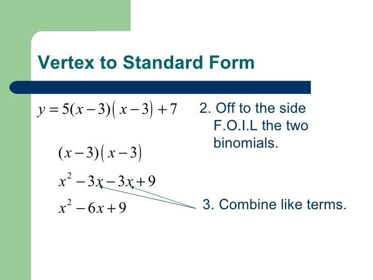 vertex form to standard form