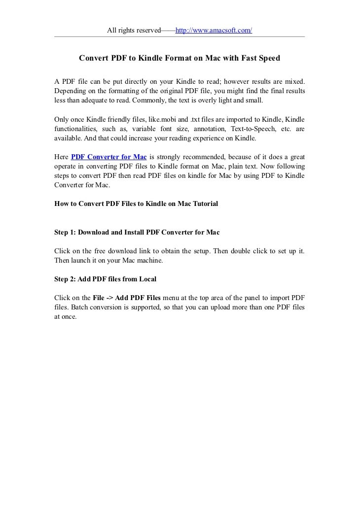 Convert pdf to kindle format on mac with fast speed