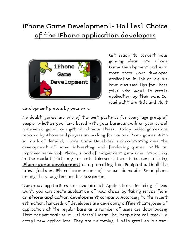 iPhone Game Development- Hottest Choice    of the iPhone application developers                                           ...