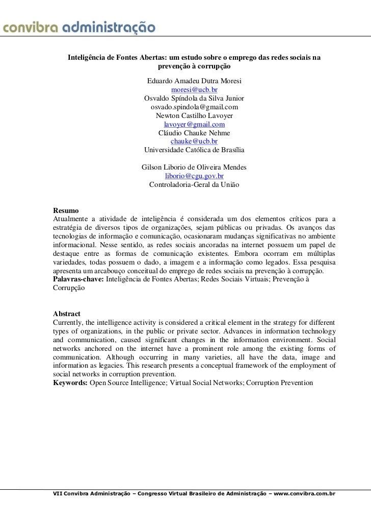 Inteligência de Fontes Abertas: um estudo sobre o emprego das redes sociais na                                 prevenção à...