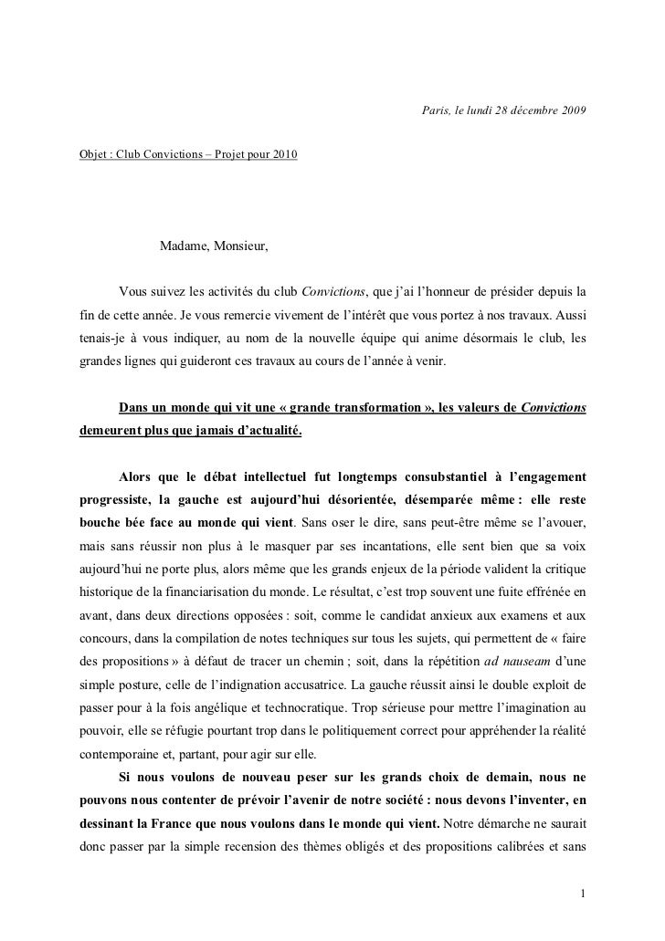 Paris, le lundi 28 décembre 2009Objet : Club Convictions – Projet pour 2010               Madame, Monsieur,       Vous sui...