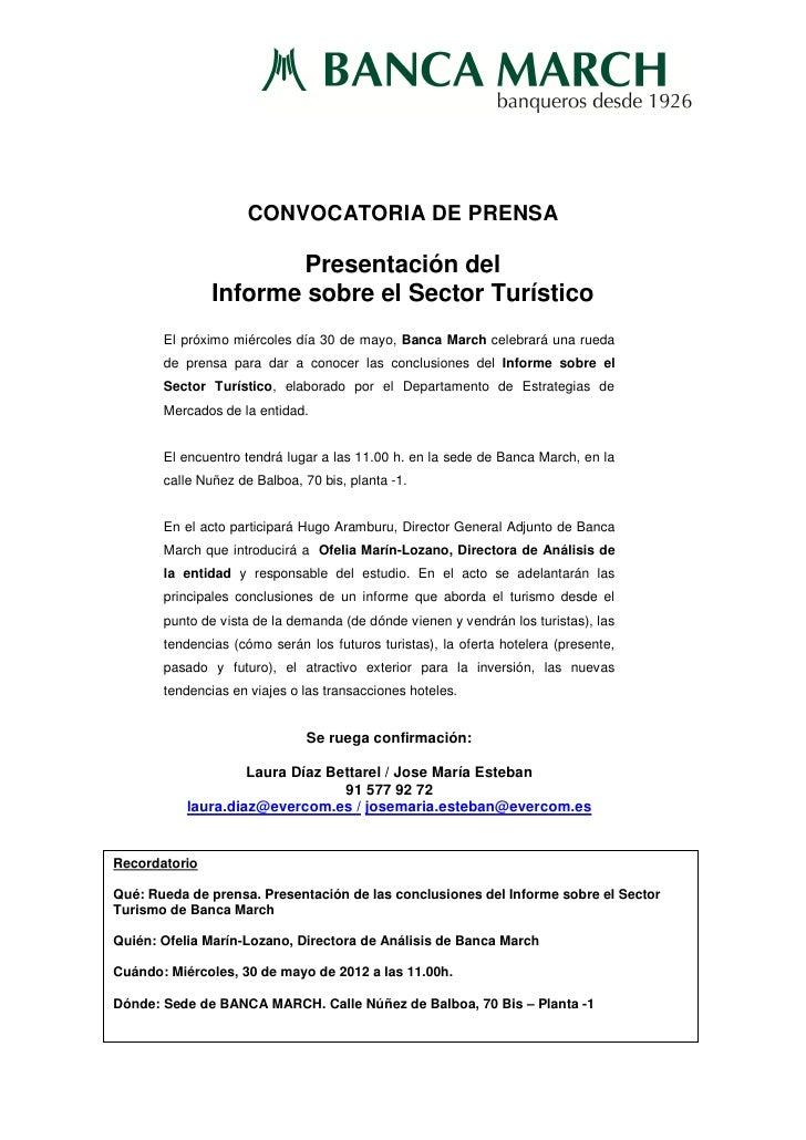 Conv  informe sector turismo   banca march - 30 05 12