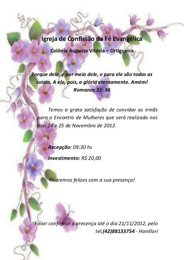 Convite Reuniao De Mulheres