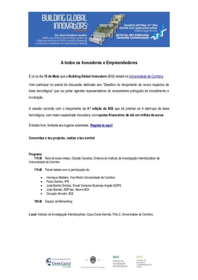 4ª Ed. BGI: Em Coimbra no dia 15 de Maio