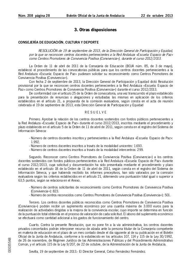 Núm. 208 página 28  Boletín Oficial de la Junta de Andalucía  22 de octubre 2013  3. Otras disposiciones Consejería de...