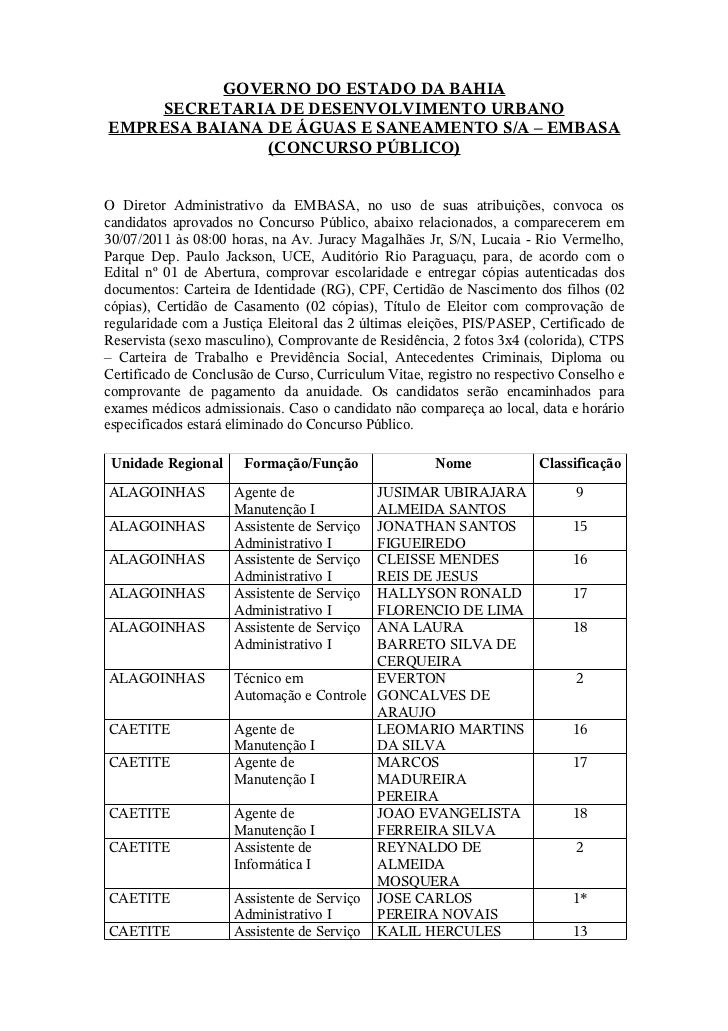 GOVERNO DO ESTADO DA BAHIA    SECRETARIA DE DESENVOLVIMENTO URBANOEMPRESA BAIANA DE ÁGUAS E SANEAMENTO S/A – EMBASA       ...