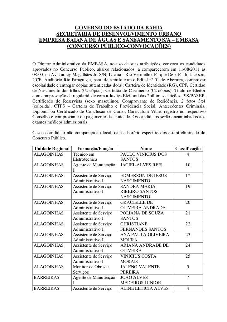 GOVERNO DO ESTADO DA BAHIA       SECRETARIA DE DESENVOLVIMENTO URBANO   EMPRESA BAIANA DE ÁGUAS E SANEAMENTO S/A – EMBASA ...