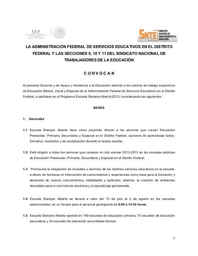 Convocatoria 2013-Escuela Siempre Abierta