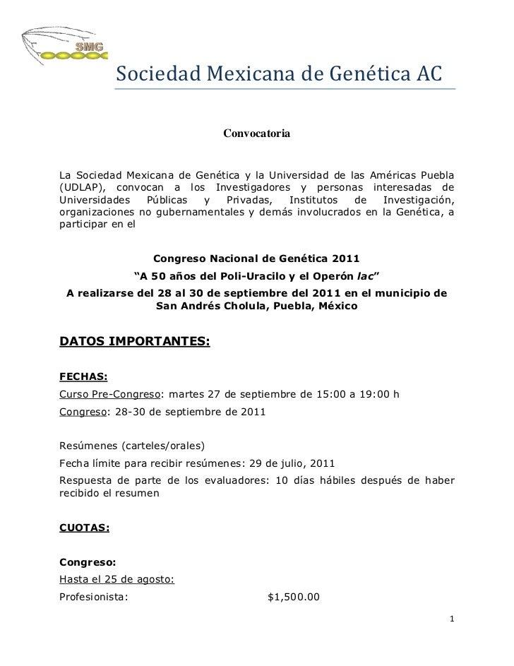 Sociedad Mexicana de Genética AC                                ConvocatoriaLa Sociedad Mexicana de Genética y la Universi...