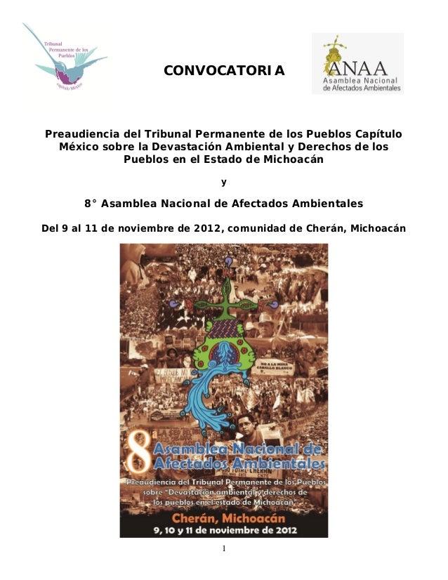CONVOCATORIAPreaudiencia del Tribunal Permanente de los Pueblos Capítulo  México sobre la Devastación Ambiental y Derechos...