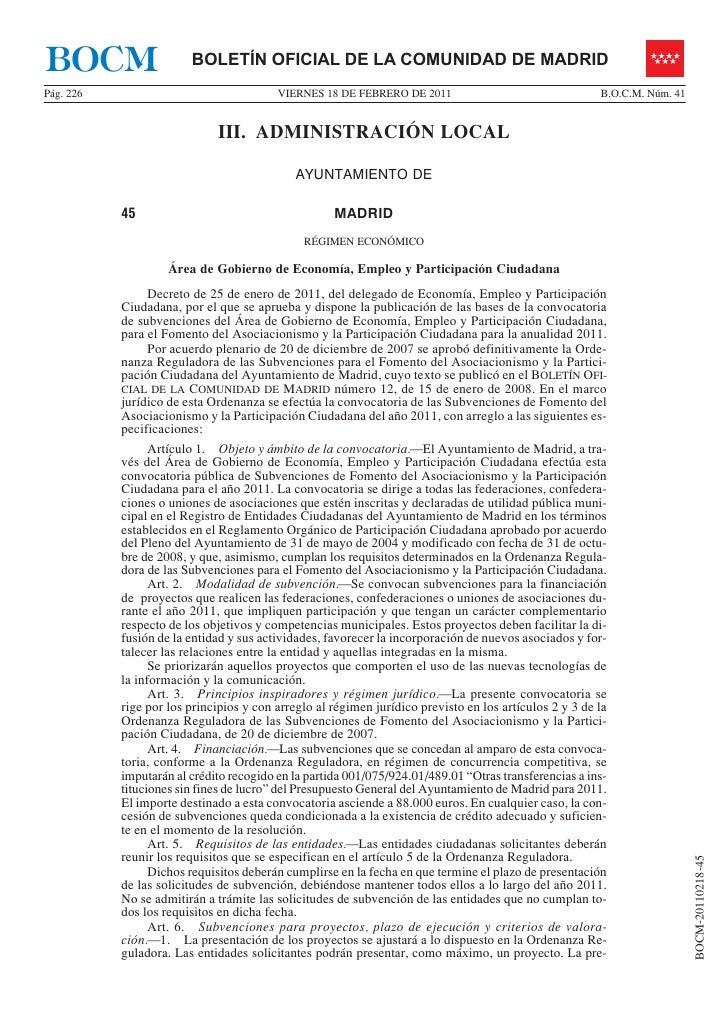 BOCM                    BOLETÍN OFICIAL DE LA COMUNIDAD DE MADRIDPág. 226                                 VIERNES 18 DE FE...