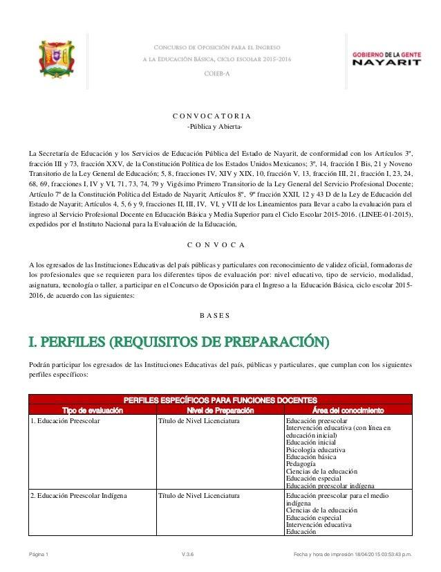 C O N V O C A T O R I A -Pública y Abierta- La Secretaría de Educación y los Servicios de Educación Pública del Estado de ...