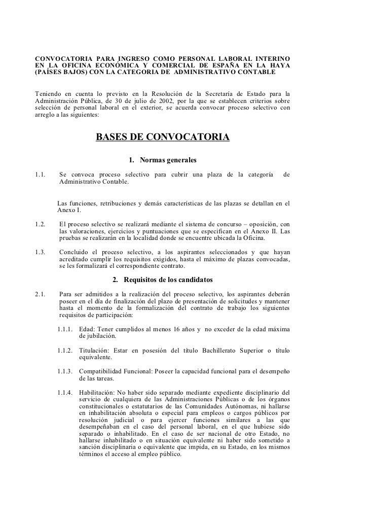 CONVOCATORIA PARA INGRESO COMO PERSONAL LABORAL INTERINOEN LA OFICINA ECONÓMICA Y COMERCIAL DE ESPAÑA EN LA HAYA(PAÍSES BA...