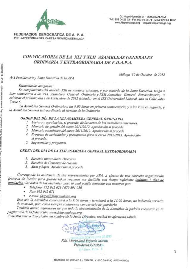 Convocatoria de la XLI y la XLI Asambleas Generales de FDAPA
