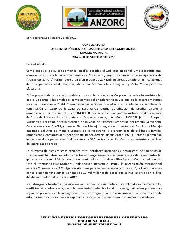AUDIENCIA PÚBLICA POR LOS DERECHOS DEL CAMPESINADO MACARENA, META. 28-29-30 DE SEPTIEMBRE 2015 La Macarena Septiembre 21 d...