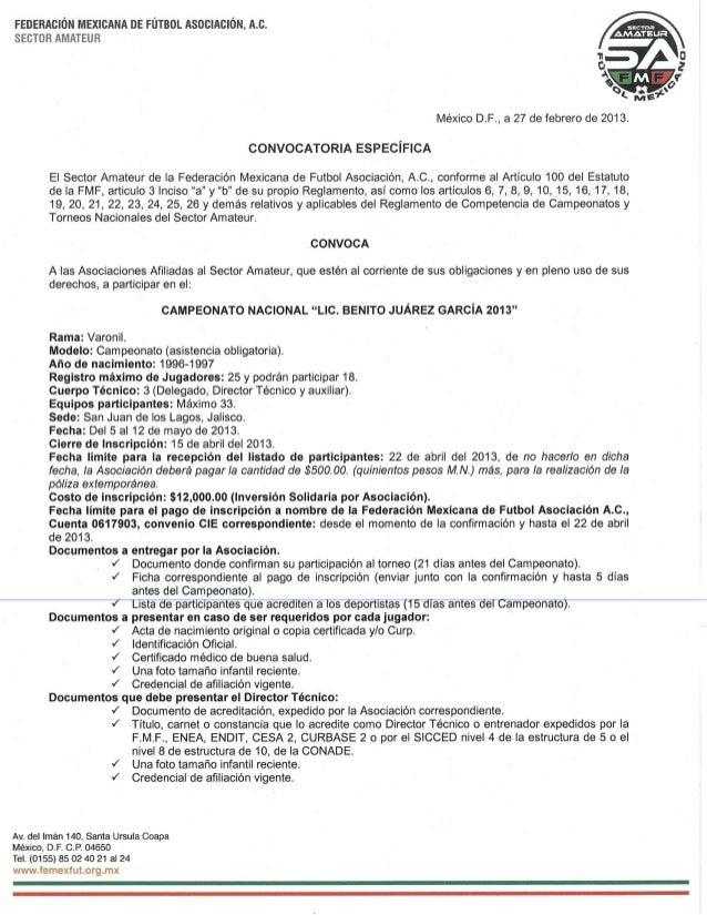 Convocatoria campeonato nacional varonil lic. benito juárez garcía  2013
