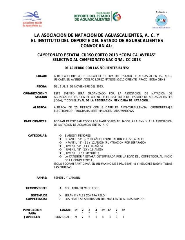 Afiliado a  LA ASOCIACION DE NATACION DE AGUASCALIENTES, A. C. Y EL INSTITUTO DEL DEPORTE DEL ESTADO DE AGUASCALIENTES CON...