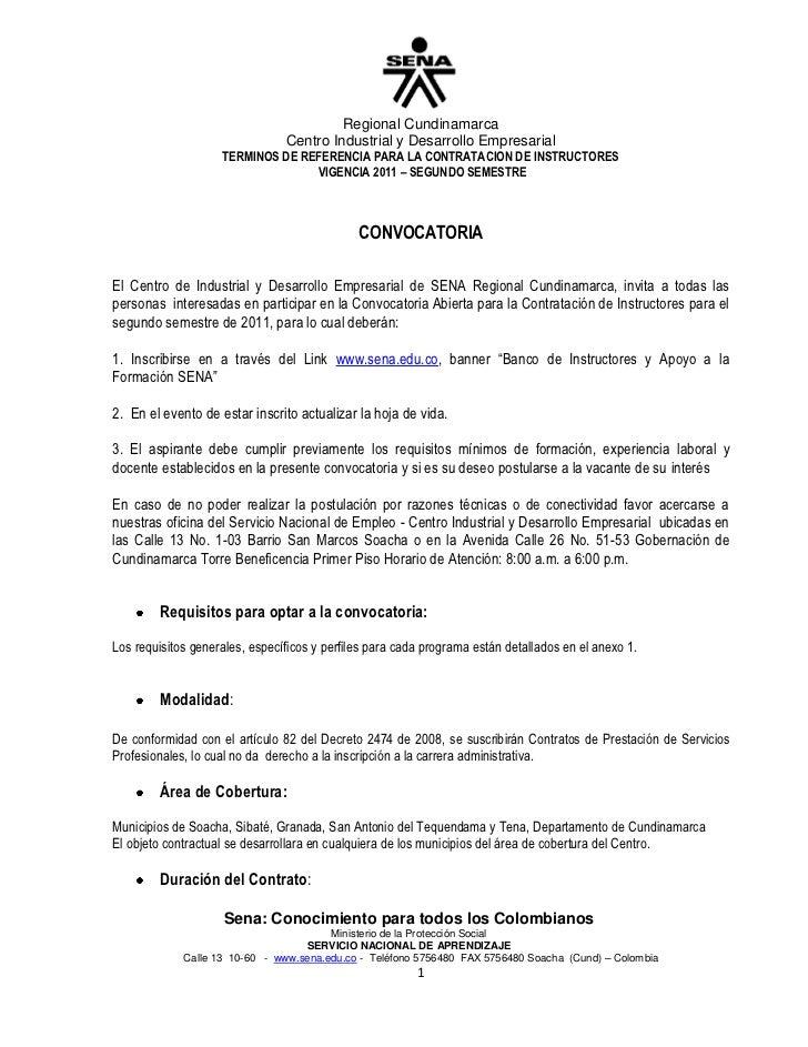 TERMINOS DE REFERENCIA PARA LA CONTRATACION DE INSTRUCTORES<br /> VIGENCIA 2011 – SEGUNDO SEMESTRE<br />CONVOCATORIA <br /...