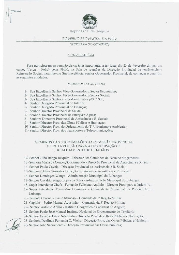 Convocatória do Governo Provincial da Huíla para reunião