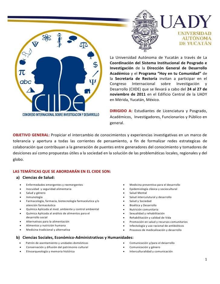 La Universidad Autónoma de Yucatán a través de La                                                                Coordinac...