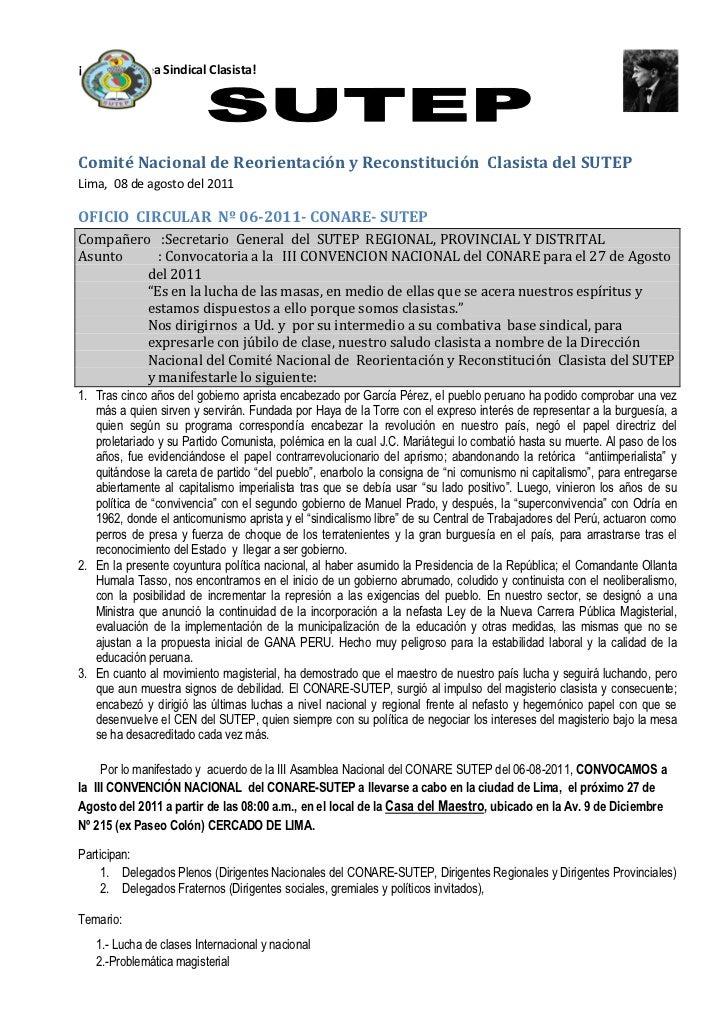 ¡Por Una Línea Sindical Clasista!Comité Nacional de Reorientación y Reconstitución Clasista del SUTEPLima, 08 de agosto de...