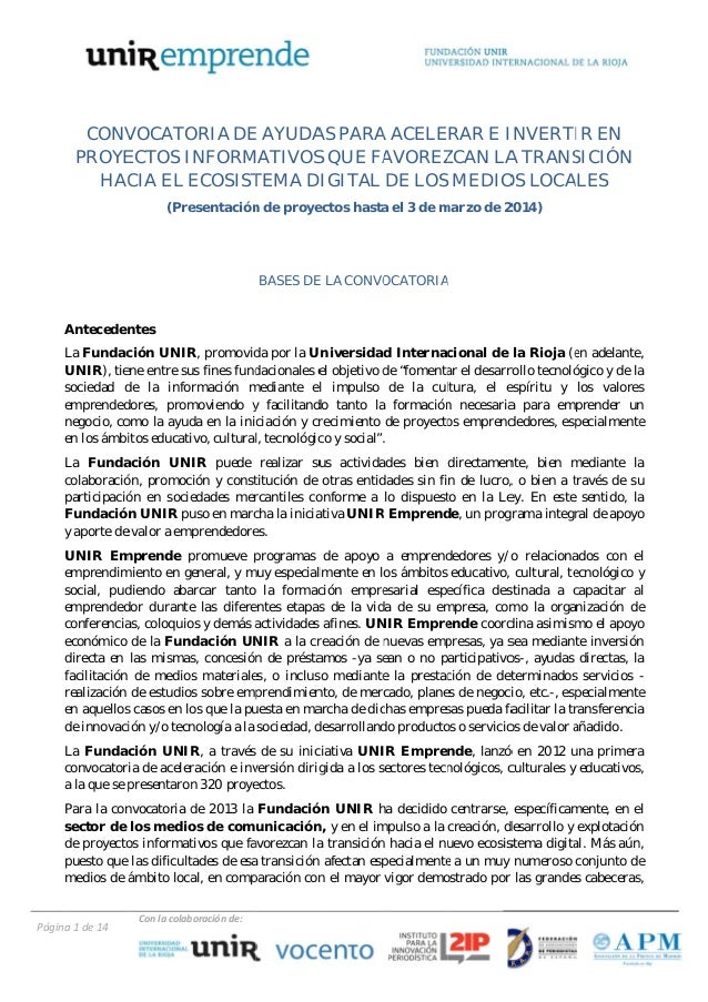CONV VOCATO ORIA DE AYUDA PARA ACELERAR E I E AS A INVERTI EN IR PROYE ECTOS IN NFORM MATIVOS QUE FA S AVOREZ ZCAN LA TRAN...