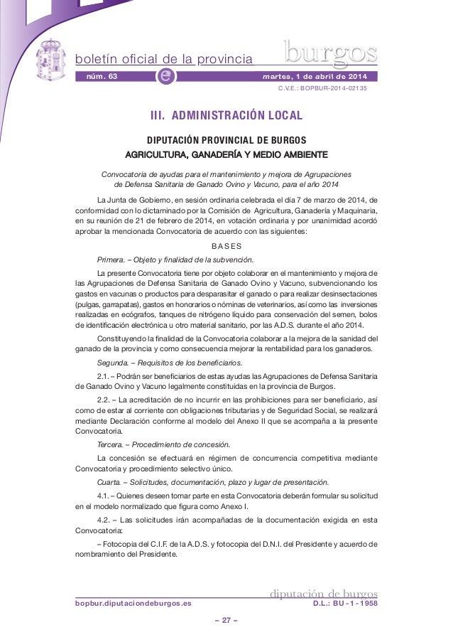 boletín oficial de la provincia – 27 – C.V.E.: BOPBUR-2014-02135 núm. 63 martes, 1 de abril de 2014e diputación de burgos ...