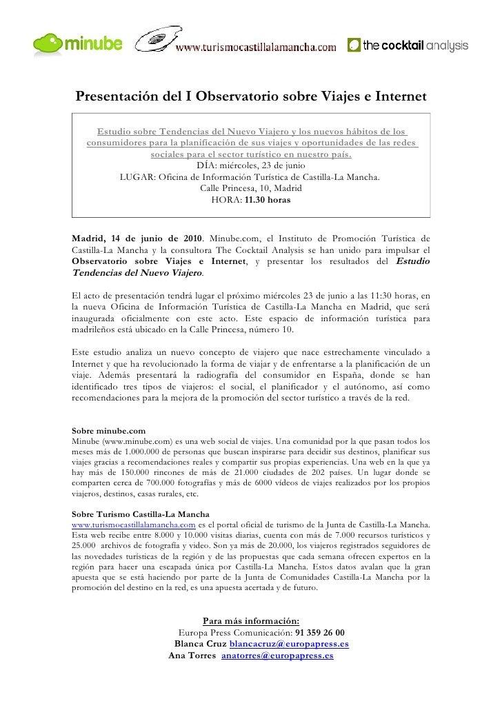 Presentación del I Observatorio sobre Viajes e Internet        Estudio sobre Tendencias del Nuevo Viajero y los nuevos háb...