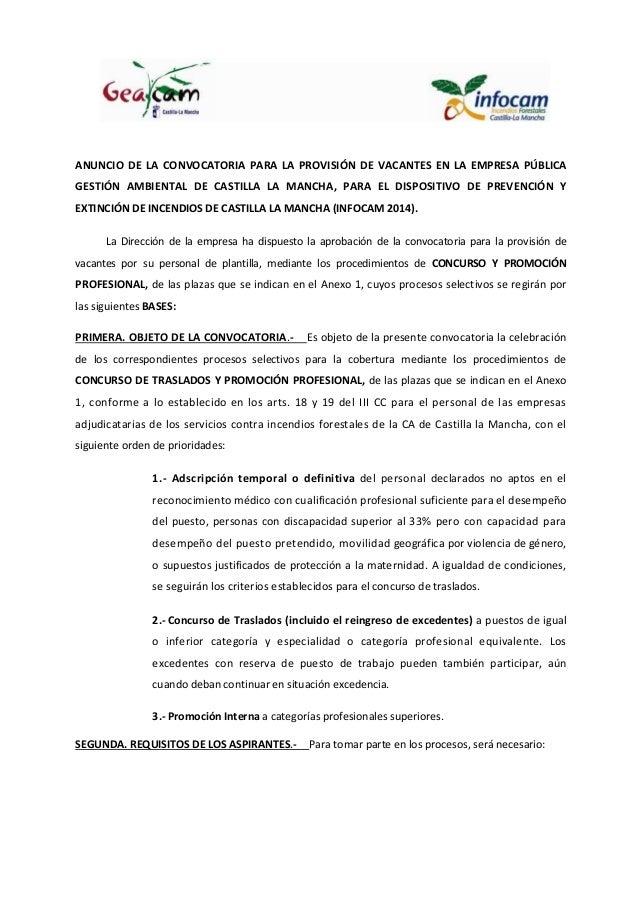 "Convocatoria de provisiã""n de vacantes infocam 2014 bueno"