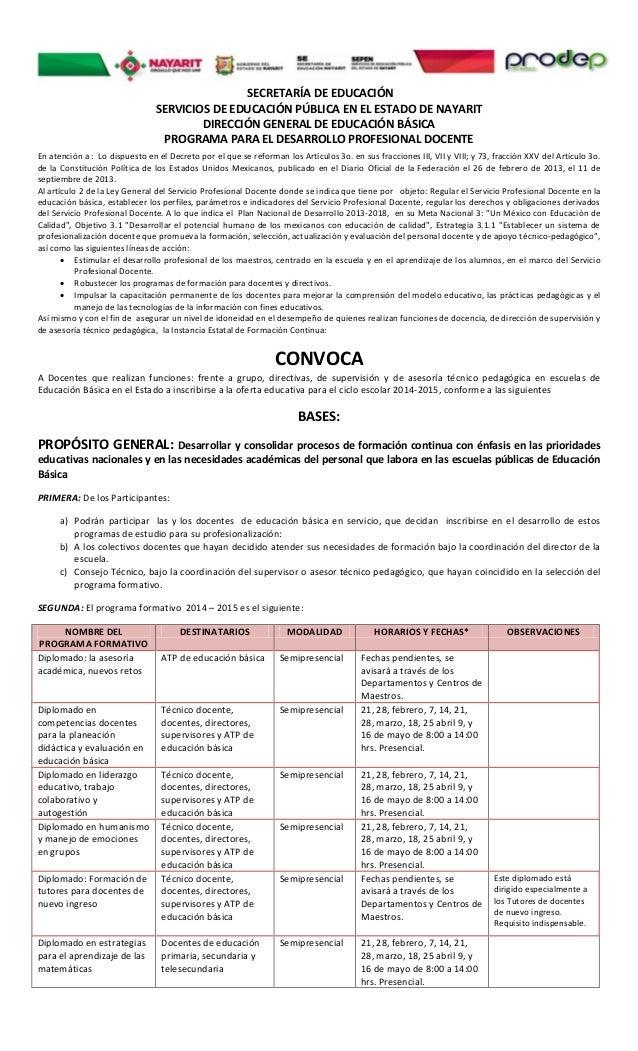 SECRETARÍA DE EDUCACIÓN SERVICIOS DE EDUCACIÓN PÚBLICA EN EL ESTADO DE NAYARIT DIRECCIÓN GENERAL DE EDUCACIÓN BÁSICA PROGR...