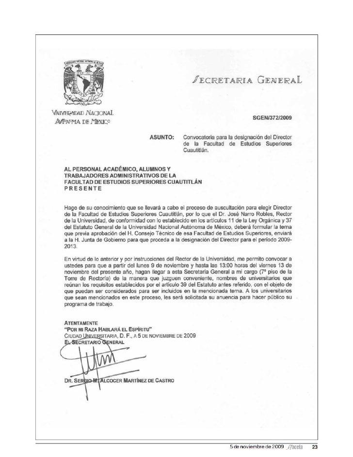 Convocatoria FES Cuautitlán