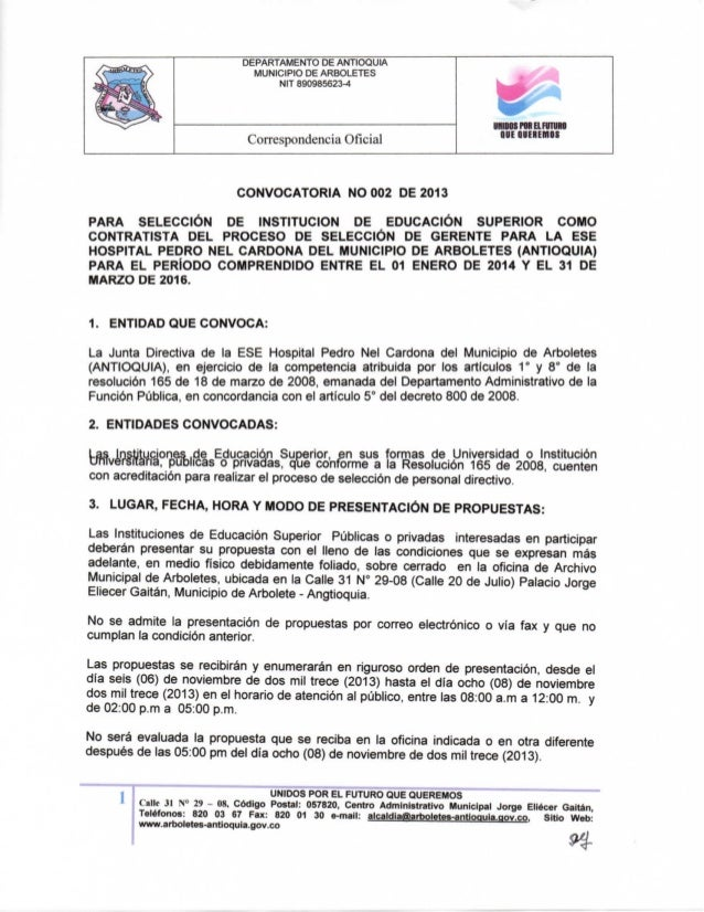 DEPARTAMENTO DE ANTIOQUIA MUNICIPIO DE ARBOLETES NIT 890985623-4  Correspondencia Oficial  miBOSPMELFUTUm QUE QUEREMOS  CO...