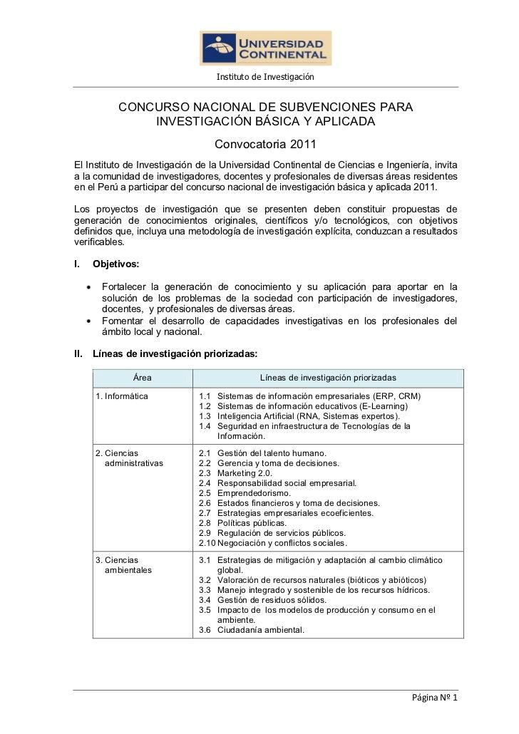 Instituto de Investigación            CONCURSO NACIONAL DE SUBVENCIONES PARA                INVESTIGACIÓN BÁSICA Y APLICAD...