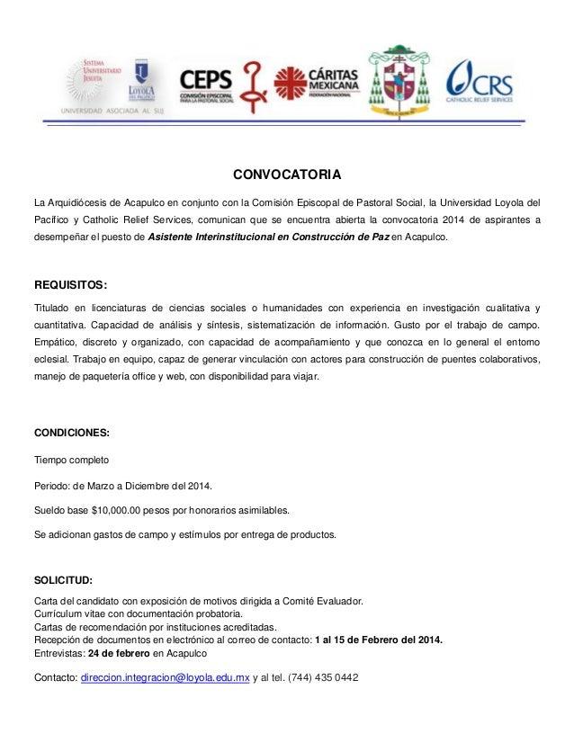 Convocatoria investigador en el tema de paz - Acapulco