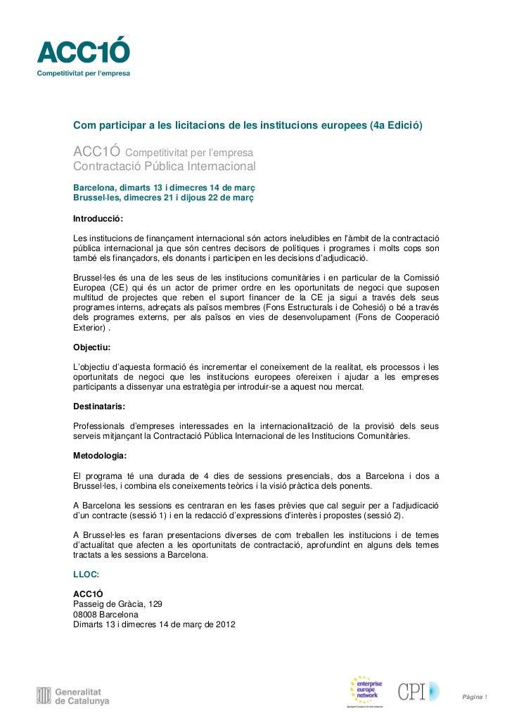 Convocatoria licitacions ue 2012