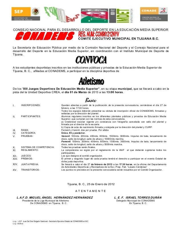 Convocatoria municipal atletismo conadems 2013 for Convocatoria para docentes 2016