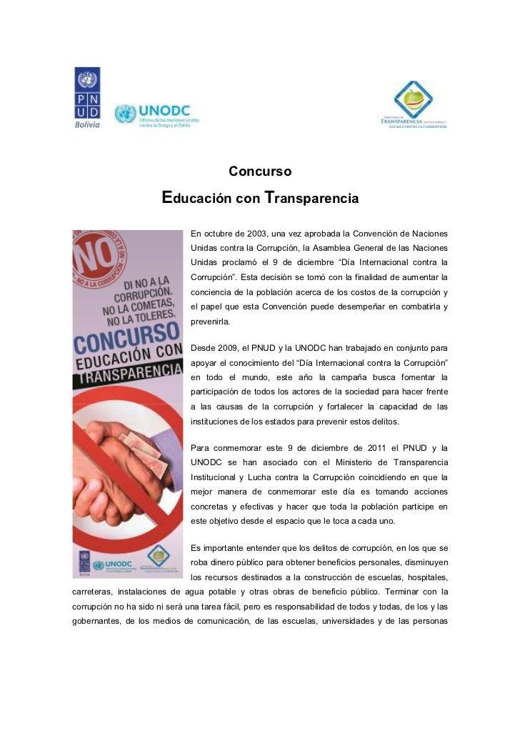 """Convocatoria: Concurso """"Educación con transparencia"""""""