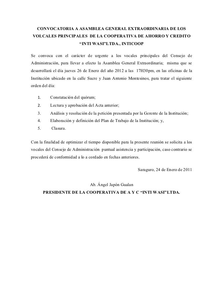 Convocatoria plan de trabajo