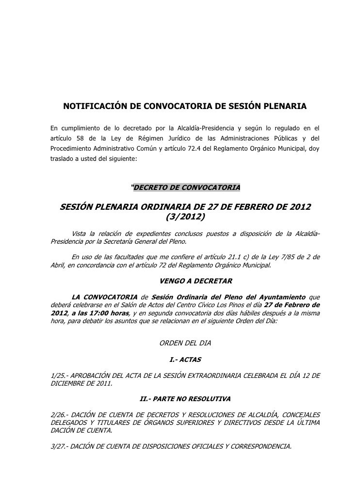 NOTIFICACIÓN DE CONVOCATORIA DE SESIÓN PLENARIAEn cumplimiento de lo decretado por la Alcaldía-Presidencia y según lo regu...