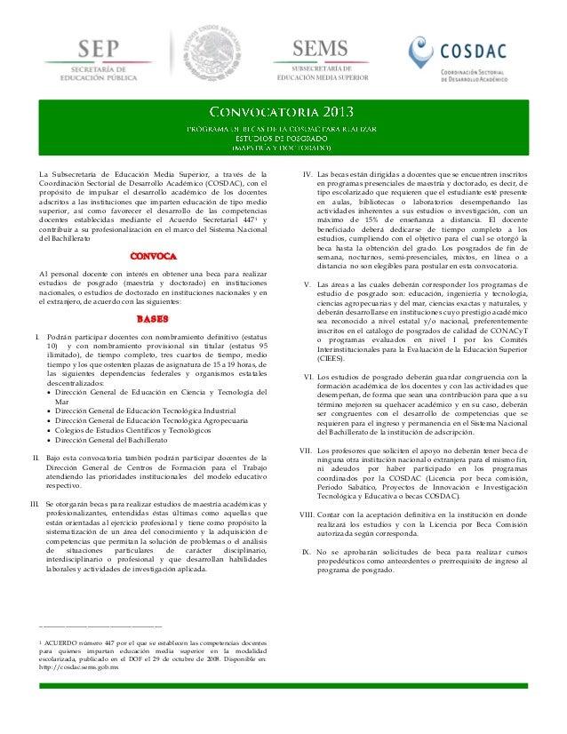 Convocatoria posgrado 2013