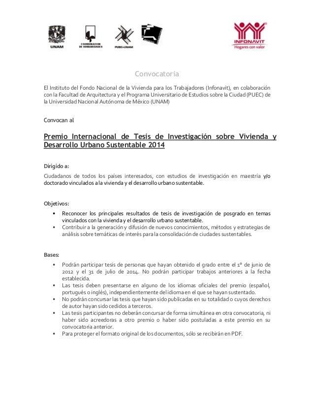 Convocatoria El Instituto del Fondo Nacional de la Vivienda para los Trabajadores (Infonavit), en colaboración con la Facu...