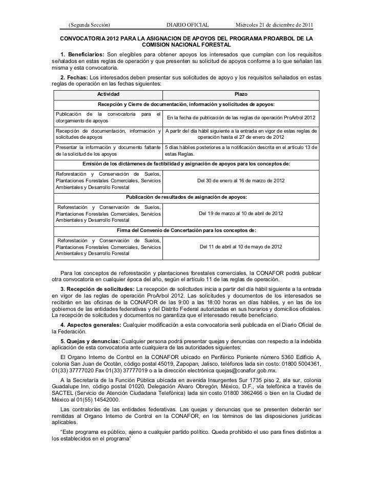 (Segunda Sección)                            DIARIO OFICIAL                 Miércoles 21 de diciembre de 2011   CONVOCATOR...