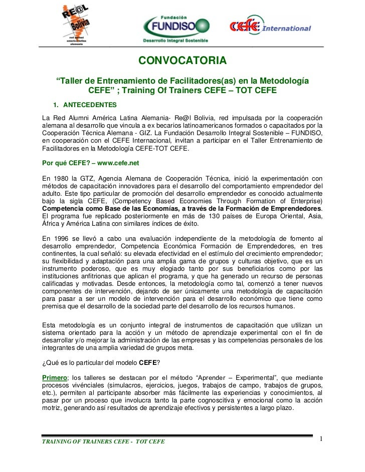CONVOCATORIA TOT CEFE - COCHABAMAB