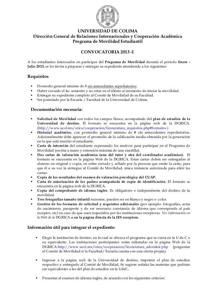 UNIVERSIDAD DE COLIMA   Dirección General de Relaciones Internacionales y Cooperación Académica                      Progr...