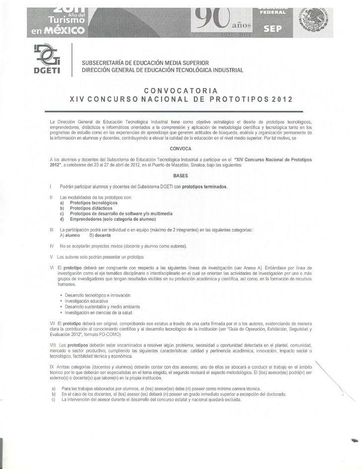 Convocatoria XIV concurso prototipos 2012