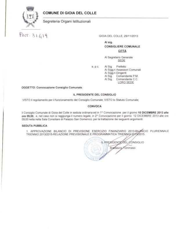 Convocazione consiglio comunale 10.12.2013