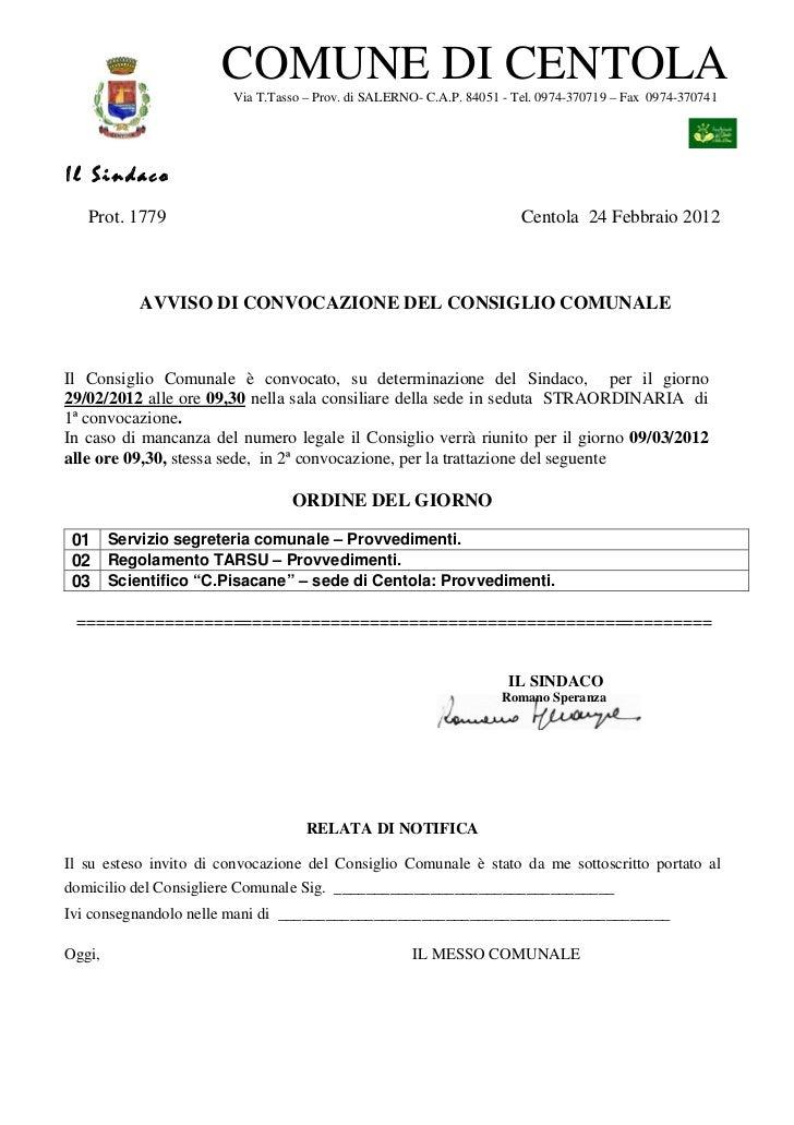 Consiglio Comunale del 29 febbraio - Ordine del giorno
